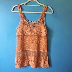 Coral Mesh and Lace Boho Tank by Honey Punch M